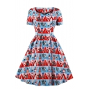 Girls' Cute Christmas Short Sleeve Sweetheart Neck Zipper Back Santa Claus All Over Print Midi Pleated Flared Dress in Red