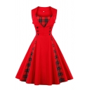 Formal Women's Sleeveless Lapel Neck Plaid Patterned Patched Double Breasted Midi Pleated Flared Dress