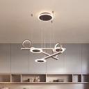 Coffee Traverse Pendant Light Kit Contemporary Acrylic LED Chandelier Lighting in Warm/White Light