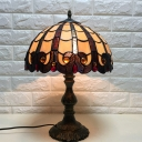 1 Head Dome Desk Light Tiffany Antique Brass Handcrafted Stained Glass for Bedside