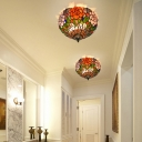 Hand Cut Glass Brass Ceiling Mount Flower 2 Lights Victorian Flush Mount Ceiling Light