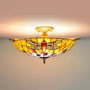5 Heads Ceiling Lighting Tiffany Dragonfly Handcrafted Art Glass Flush Light Fixture in Brass
