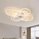 White Flower Led Ceiling Light Contemporary Indoor Flush Mount Light for Living Room