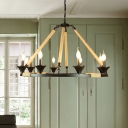 Wagon Wheel Metal Suspension Light Farmhouse 8 Lights Living Room Hanging Chandelier in Black