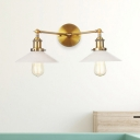 2 Lights Indoor Wall Lighting Farmhouse Black/Bronze/Brass Sconce Light with Cone Opal Glass Shade