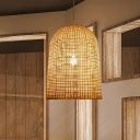 Basket Ceiling Pendant Light Modern Style Bamboo 1 Light Dining Room Down Lighting in Beige