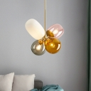 Bubble Chandelier Light Contemporary Amber-Smoke-Pink Glass 4 Lights Brass Down Lighting
