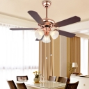 Traditional Blossom Ceiling Fan 3 Heads Opaque Glass Semi Flush Mount Lighting in Rose Gold