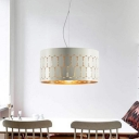 1 Head Dining Room Pendant Lamp Modern White Hanging Light Kit with Drum Metal Shade