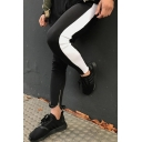 Mens Casual Contrast Stripe Side Zipper Hem Skinny Fit Pencil Pants