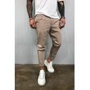 Mens Outdoor Sport Whole Colored Zipper Embellishment Woven Joggering Pants