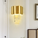 Layered Living Room Wall Light Sconce Traditional Clear Crystal Glass 2 Heads Gold LED Wall Lighting Fixture