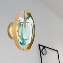 Oval Bedroom Wall Light Sconce Traditional Green Crystal 1 Head Gold LED Wall Lighting Fixture