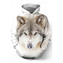 Men's Stylish Wolf Head 3D Pattern Long Sleeves White Pullover Hoodie