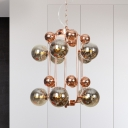 Modernist Globe Ceiling Chandelier Smoked Glass 10 Bulbs Living Room Hanging Light Fixture
