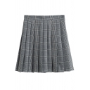 Cute Fashion Girls' High Waist Zipper Front Plaid Patterned Mini Pleated A-Line Skirt in Light Gray