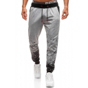 Creative Ombre Printed Drawstring Waist Loose Fit Active Pants for Men