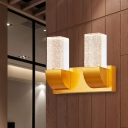 Bubble Crystal Gold Wall Lighting Rectangular 2/3 Bulbs Traditional LED Wall Sconce Light for Bedroom
