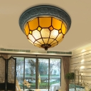 2 Lights Grid Patterned Flush Light Fixture Mediterranean Blue/Yellow/Pink Stained Glass Flush Mount Lighting for Living Room