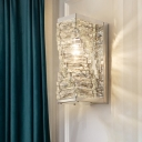Minimalist 1 Bulb Sconce Light Geometric LED Wall Mount Lighting with Clear Crystal Glass Shade