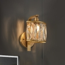 Crystal Square Wall Mounted Lamp Vintage 1 Head Bedroom Sconce Light Fixture in Gold