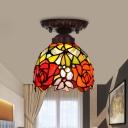Domed Red/Pink/Orange Cut Glass Flush Light Fixture Mediterranean 1 Light Bronze Close to Ceiling Lamp