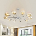 Sputnik Chandelier Lighting Modernist Metal 10 Bulbs Silver Hanging Light Fixture with Cognac Glass Shade