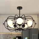 Drum Pendant Chandelier Modernist Metal 5 Heads Coffee Ceiling Hanging Light for Bedroom