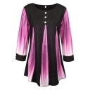 Pretty Ladies' Long Sleeve Round Neck Button Front Ombre Contrasted Relaxed Fit Tee