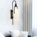 Tubular Sconce Light Modern White Glass 1 Head Black Wall Lighting Fixture with Metal Curvy Arm, 8.5
