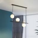 3 Heads Global Island Light Modernist White Glass Pendant Lighting Fixture in Black