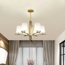 Gold Sputnik Pendant Chandelier Modernism 6 Heads Metal Hanging Light Fixture with Frosted Glass Shade
