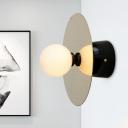 White Glass Globe Wall Lighting Modernist 1 Bulb Sconce Light Fixture in Black For Bedroom