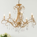 Crystal Gold Chandelier Curved Arm 8 Lights Traditional-Style Suspension Lighting for Living Room