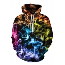 Unisex Colorful Smoke Lightning 3D Printed Long Sleeve Loose Fit Pullover Hoodie
