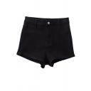 Hot Chic Women's High Waist Slim Side Plain Fitted Denim Shorts