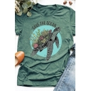 SAVE THE OCEAN Letter Sea Turtle Pattern Short Sleeves Round Neck Graphic T-Shirt
