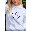Creative Horse and Heart Pattern Long Sleeve Oversized Drawstring Hoodie for Women