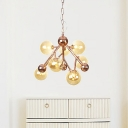 Global Living Room Hanging Chandelier Modernism Amber Glass 9 Bulbs Ceiling Suspension Lamp