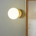 Gold Spherical Wall Lamp Contemporary 1 Head Milky Glass Sconce Light Fixture for Bedside
