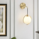 1 Head Bedroom Sconce Modern Brass Wall Mount Light Fixture with Orb Opal Glass Shade