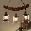 3 Lights Clear Glass Chandelier Light Industrial Style Dark Brown Kerosene Dining Room Pendant Lamp