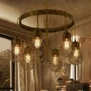 Black/Bronze 6 Lights Ceiling Chandelier Industrial Metal Bulb Shaped Pendant Lamp for Living Room