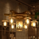 3/7 Lights Chandelier Light Industrial Caged Metallic Hanging Ceiling Fixture in Wood for Dining Room