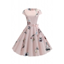 Cute Girls' Short Sleeve Round Neck All Over Floral Printed Zip Back Bow Tie Waist Midi Pleated Flared Dress