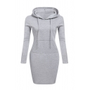 Casual Gray Long Sleeve Drawstring Kangaroo Pocket Midi Bodycon Hoodie Dress for Girls