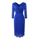 Elegant Ladies' Long Sleeve Surplice Neck Floral Embroidered Lace Scallop Trim Plain Midi Sheath Dress