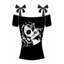 Punk Ethic Girls' Short Sleeve Bow Tie Strap Skull Pattern Slim Fit Tee Top in Black
