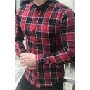 Men's Classic Plaid Printed Long Sleeve Stand Collar Slim Fitted Daily Shirt