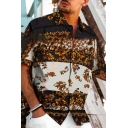 Mens Casual Vintage Floral Pattern Short Sleeves Button Up Loose Fit Colorblocked Shirt